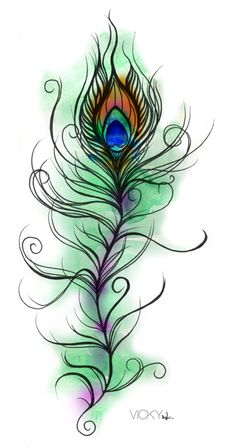 Single Peacock Feather | Print designed with a single peacock feather and also as a repeat ...