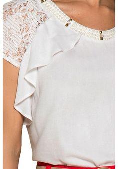 blusa branca bordada perolas manga renda babados nitido viaevangelica frente detalhe 2