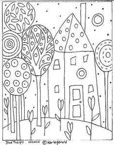 Ковер крючком рукоделие копировальную узор синий тюльпаны народное искусство абстрактные карла жерар