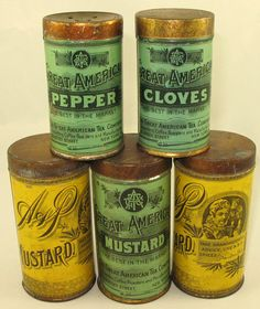 Spice tins c.1900, The Great American Tea Company, later became A & P ...The Great Atlantic & Pacific Tea Company.