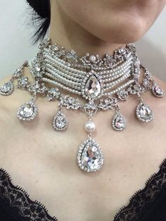 Victorian choker, wedding jewelry, bridal necklace, rhinestone necklace, bridal jewelry, wedding bri