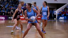 Gina Crampton of the Steel looks to pass the ball in the ANZ Championship netball match between the Southern Steel and ...