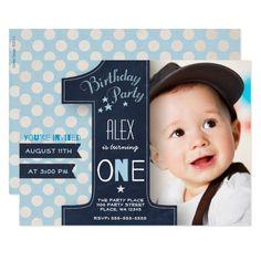 First Birthday Party Invitation Boy Chalkboard Invitation#Boy#Chalkboard#Shop Baby 1st Birthday