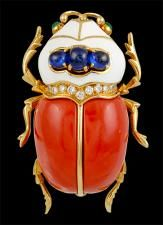 Coral 'Scarab', Cabochon Sapphire, Sapphire And Diamond Brooch By David Webb