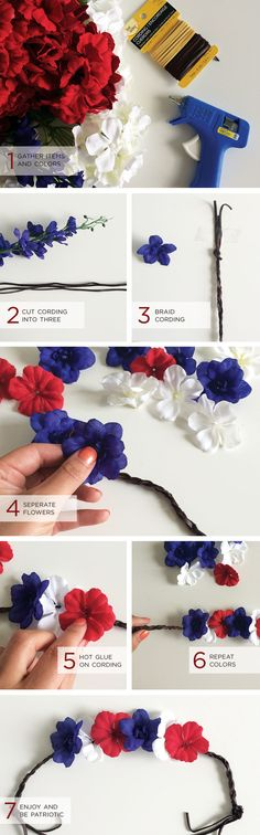 Here is a quick and simply DIY hair bun wrap upgrade just in time for  Memorial Day Weekend. Super easy to make for that patriotic statement.   What you need: Fake Floral (Red, White, Blue) | Cording | Glue Gun |  Scissors | Tape  All supplies found at Michaels.  Just f