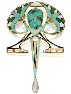 Fan-shaped green, black and white enamel lotuses hair comb. Center jewel is turquoise cabocohon on top of triangular opal and edged by diamonds, set in 18k gold, c. 1910