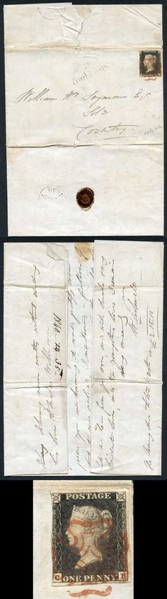#Penny #Black (CB4 Plate 1a On May 14th 1840 Cover 9th Day Of Issue #forsale  on +Kollectbox  www.kollectbox.com - #Marketplace for #Stamp #Collectors
