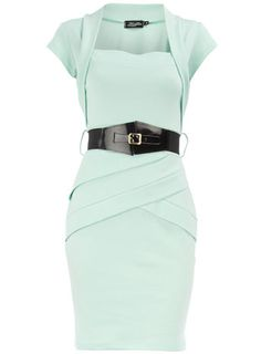 Ooooh!!! Mint green sheeth dress with matching shrug and fun belt. This doesn't need to be a costume, I'd just wear this around!