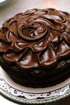 Dark Chocolate Cake.  Frosting adjustments:  3 cups 10X sugar, 1/2 c half & half, 2/3 cup cocoa