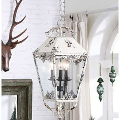 """WANT IT :: Distressed Cream Metal Electric Lantern by Creative Co-op :: $138.95 