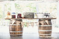 Ideas For Wedding Reception Decorations Rustic Pictures Barrel Bar, Barrel Table, A Table, Drink Table, Outdoor Wedding Venues, Wedding Reception Decorations, Wedding Ceremony, Reception Food, Farm Wedding