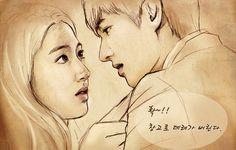 "Fan Art of Eun chan Sang and Kin Tan. Park Shin Hye and Lee Min Ho of the ""Heirs""."
