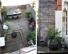 La terrasse de la décoratrice Béatrice Loncle où le bois et le zinc se conjuguent avec les plantes aromatiques, les agapanthes et l'olivier