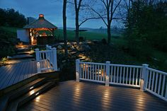 60 Best Deck Lighting Ideas - Outdoor Lighting When age-old inside concept, your pergola continues Outdoor Deck Lighting, Solar Deck Lights, Fence Lighting, Outdoor Pergola, Landscape Lighting, Lighting Ideas, Lighting Design, Pergola Ideas, Curved Pergola