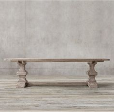 RH's Reclaimed Russian Oak Baluster Rectangular Extension Dining Table :Handcrafted of solid reclaimed white oak timbers from decades-old buildings in Russia, our trestle-style table draws from a tradition of dining and banqueting furnishings that dates to the 17th century.