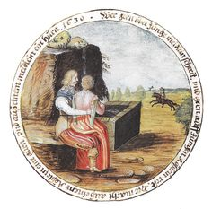 young woman sits on man's knee beside fountain, horse-rider in th distance. Design dated 1630 for the shooting target of Hanibal von Hesperg from the Coburg Scheibenbuch. Derived from adjacent print