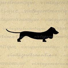 Digital Graphic Dachshund Wiener Dog di VintageRetroAntique