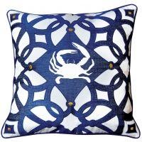Navy Crab Collection - Moroccan Crab Indoor / Outdoor Pillow