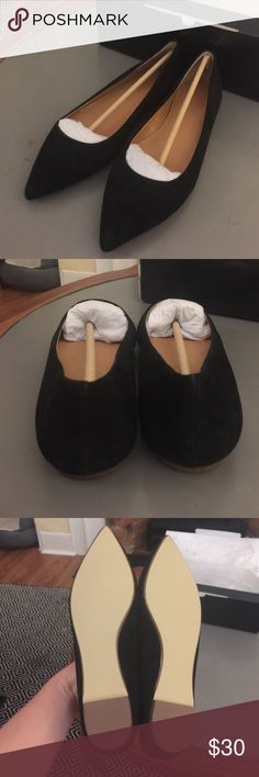 NWT Jcrew Factory black suede flats Amelia flats from Jcrew Factory that I paid 40.95 for. Size 8.5 but fits more like a 9. They were a little too big for me and I kept forgetting to return them! J.Crew Factory Shoes Flats & Loafers