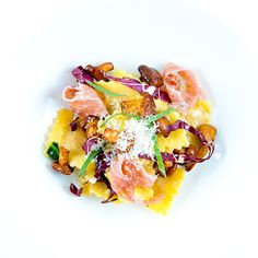 Veal Ravioli w/ Culatello, Radicchio, Chanterelles & Sage