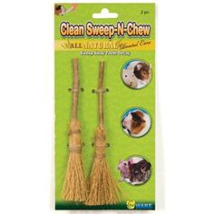 $5.58-$1.68 Ware Natural Clean Sweep-N-Chew Small Pet Chew - This new clean sweep-n-chew is an all natural chew and toy that will help sweep away tooth decay and relieve cage boredom. Made of 100-percent all natural broom grass and fruit wood, this cute broom design is popular with pets and owners alike. Great for hamsters, gerbils, rats and guinea pigs. Fun broom design. Measures 4-inch width by ...
