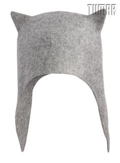 """Zoo"" hat with ear flaps. Felt: 100% wool. Handmade, solid felted, Ala Kiyiz technique."