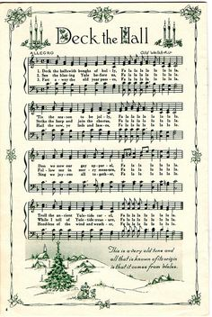 Deck the Hall Christmas Carol sheet music (print and wrap little presents) Christmas Sheet Music, Noel Christmas, Christmas Paper, Christmas Projects, Vintage Christmas, Xmas Music, Christmas Lyrics, Miniature Christmas, Victorian Christmas