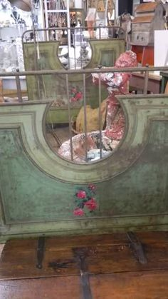 Antique French Tole painted Iron Bed from Belgium~available at American Home & Garden in Ventura CA