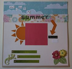 Summer vacation lizard premade photo layout to frame or scrapbook