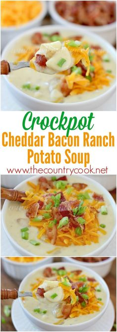 Crock Pot Cheddar Bacon Ranch Potato Soup recipe from The Country Cook - Crockpot Recipes Crock Pot Food, Crockpot Dishes, Crock Pot Slow Cooker, Slow Cooker Recipes, Crock Pot Potato Soup, Bacon Soup, Crockpot Meals, Cheddar Bacon Potato Soup, Cheddar Cheese