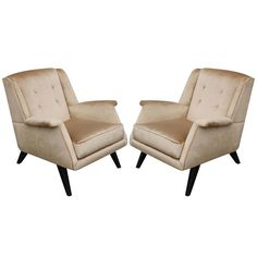Pair of Supple Velvet Italian Sculptural Lounge Chairs  | See more antique and modern Lounge Chairs at https://www.1stdibs.com/furniture/seating/lounge-chairs