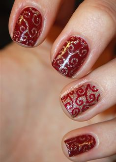 Dressed Up Nails - holiday swirl nail art using China Glaze Merry Berry and Champagne Kisses. Dupe design from The Little Canvas: http://www.thelittlecanvas.com/2012/12/merry-christmas-swirl-y-nail-art.html This one uses: Nicole by OPI Keeping Up With Santa, Sally Hansen Golden I (base of the gold nails), China Glaze I'm Not Lion (put on top of Golden I and used for accented design).