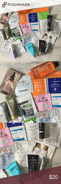 Luxury high end Skincare 23 pieces. Brands/products include: josie maran argan oil light, ole henrikson, Chanel, boscia overnight moisture & purifying cleansing gel, garnier, Murad spf 15, fresh rose mask, dr. Brandt microdermabrasion, Kiehls tea tree toner, Clarins, Hampton sun moisturizer, skinMedica ultra sheer, glamglow glam glow cleansers, peter Thomas Roth (2) Estée Lauder, origins. Deluxe & ref. sizes. Anti aging, oily combination skin prevention anti wrinkle Sephora Makeup