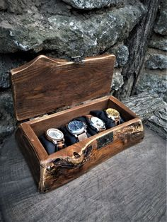 Driftwood Box for Watch and Jewelry by VOLDOR. Men's Wood Box Firewood Driftwood Wrist Watch Organizer Valentine's day Husband Gift. Wooden watch and jewelry Organizer for Mens Watches Watch Organizer, Watch Storage, Wood Shop Projects, Pallet Projects, Woodworking Projects, Valentines Day Husband, Wooden Watch Box, Wood Home Decor, Wood Boxes