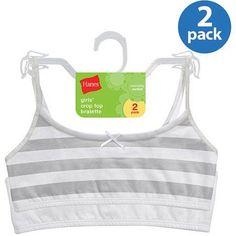 Hanes Girls' Crop Bralette 2 Pack, Women's, Size: Small, White