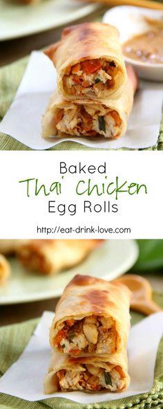 Baked Thai Chicken Egg Rolls