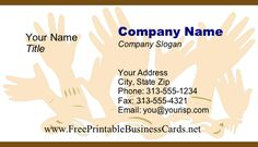 A whole lot of hands are raised on this unique, fun printable business card. Free to download and print Printable Business Cards, Printables, Hands, Unique, Projects, Fun, Handmade, Log Projects, Hand Made