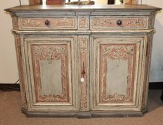 Early 18th C. Dutch Buffet carved oak buffet, recently painted.  Circa 1740