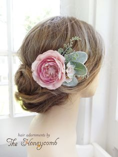 For sale on www.thehoneycombshop.com - a pink wedding bridal hair clip with lambs ear foliage. Hair accessory for bride or bridesmaids!