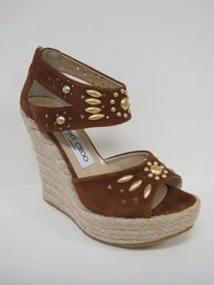Jimmy Choo Womens Pacific Suede Jute Wedge Sandals