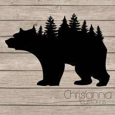 Bear Tree Line Silhouette Decal Sticker by Chrisannacustoms on Etsy