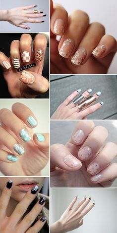 Patterned Print Nails Wedding Manicure