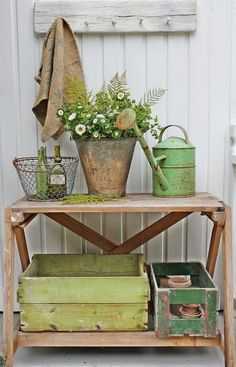 Potting bench with primitive painted boxes - via VIBEKE DESIGN