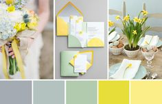 Yellow, Mint and Grey - A Modern Easter Colour Palette Mint Color Palettes, Spring Color Palette, Modern Color Palette, Green Colour Palette, Modern Colors, Spring Colors, Yellow Grey Weddings, Wedding Mint Green, Popular Wedding Colors