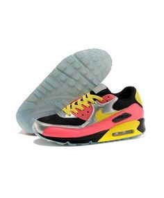 Nike Air Max 90 Knit Men'S Women'S Pink Black Yellow Silver Uk Store Blue Sneakers, Air Max Sneakers, Sneakers Nike, Air Max 90, Nike Air Max, Shoes Uk, Sports Shoes, Black N Yellow, Leather Men