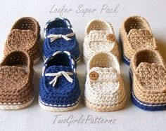 Crochet Pattern - Toddler Sizes Loafers Super Pattern Pack comes with all 4 variations - Includes USA Toddler Sizes Easy On Loafers Baby Booties Pattern Browse unique items from TwoGirlsPatterns on Etsy, a global marketplace of handmade, vintage and creat Crochet Toddler, Crochet For Boys, Crochet Baby Booties, Crochet Slippers, Easy Crochet, Women's Slippers, Crochet Flower, Baby Patterns, Crochet Patterns