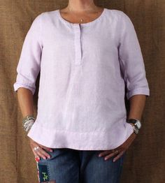 J Jill Love Linen Tunic Top M L size Pink Purple White Womens Casual Blouse