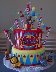 I want to throw a circus/carnival party for a child... This cake is too cute!