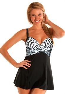 Twist Front Swimdress Plus Size : Swimwear for Women | Roamans