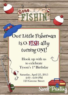 Fishing Invitation Gone Fishing Birthday Party by SwellPrinting Boy First Birthday, Boys Birthday Party Themes, 1st Boy Birthday, First Birthday Parties, Birthday Ideas, Personalized Napkins, Fish Theme, Invitation Birthday, Invite